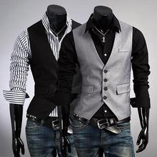 Black Gray Men Suit Vests Slim Fit Wedding Prom Dinner Party Waistcoats Coletes Custom Made Best