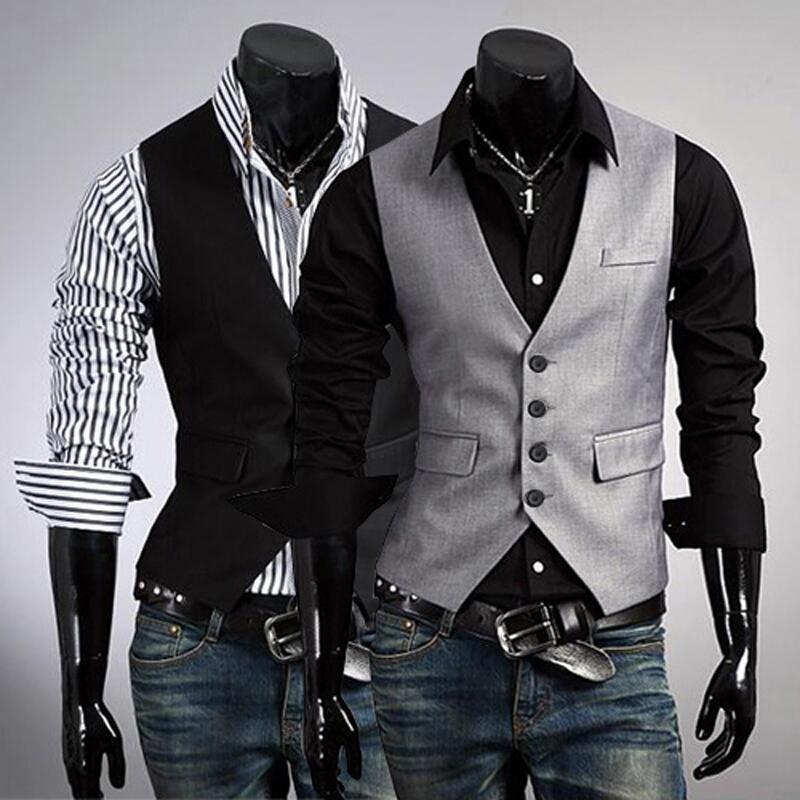 Black Gray Men font b Suit b font Vests Slim Fit Wedding Prom Dinner Party Waistcoats