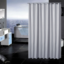 Bath Curtain Solid Color Polyester Fabric Waterproof Shower Hooks Bathroom Supplies Curtains Gift