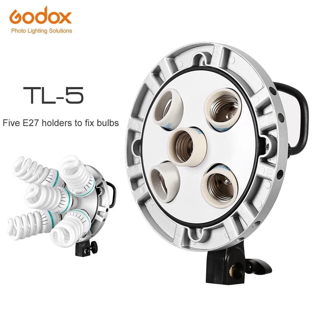 Godox TL 5 Studio E27 5 Socket Bulb Tricolor Light Lamp Multi Holder Speedring AC Slave