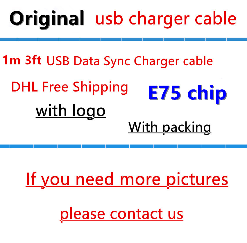 imágenes para 100 unids/lote 100% genuino original 1 m/3ft e75 chip od: 3.0mm cable de datos usb Cable cargador para 5 6 6 s 7 de Impresión originales impresión