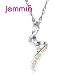 Уникальное ожерелье из стерлингового серебра 925 пробы с геометрические кулоны Ювелирные Украшения Белый Опал подвеска ожерелья для женщин