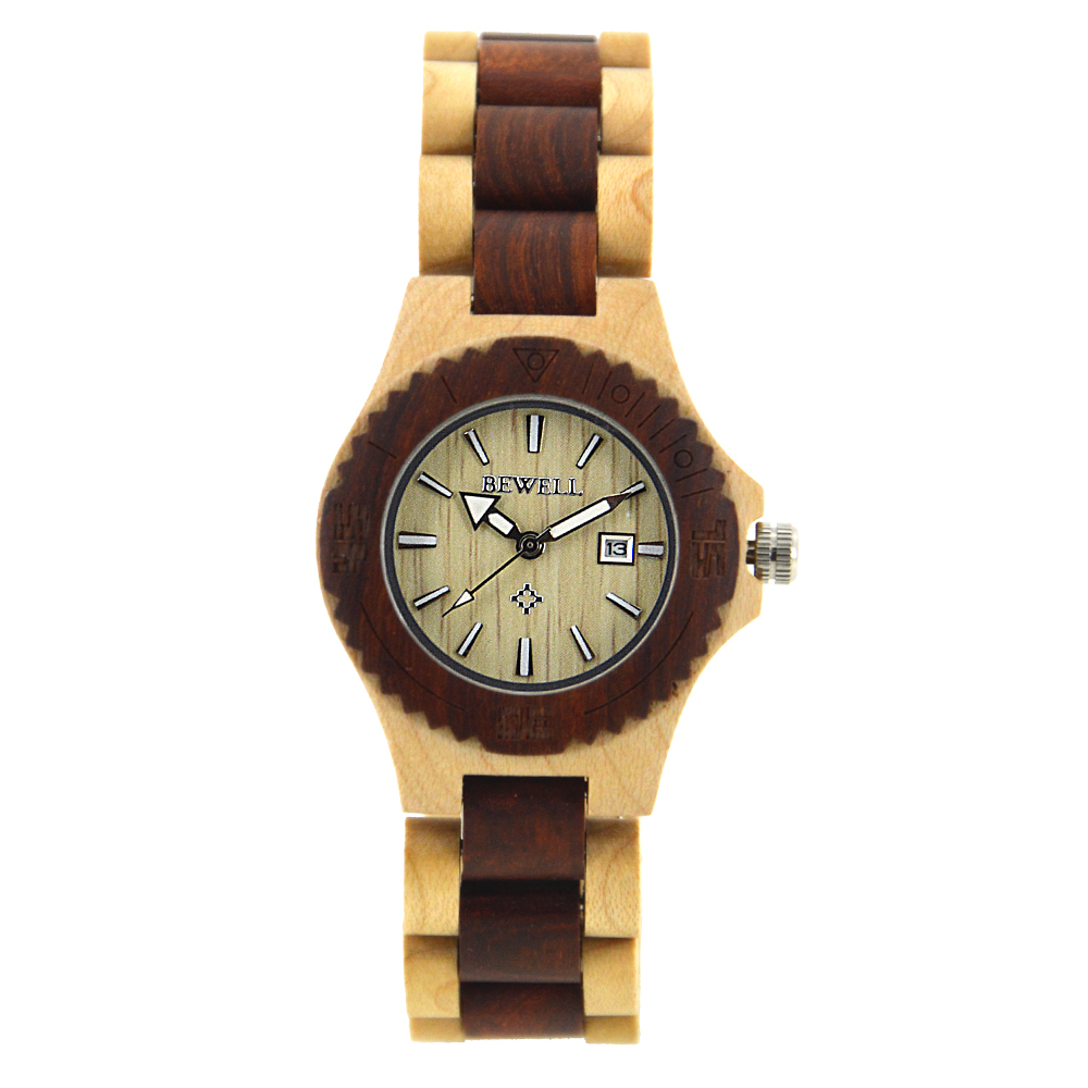New Fashion Brand BEWELL Ladies Wooden Watches Quartz Movement with Calendar Display Luminous Pointers Women Watch Relogio 020A bewell waterproof wooden quartz watch for men luminous pointers calendar wood watch male fashion wrist watch relogio masculino