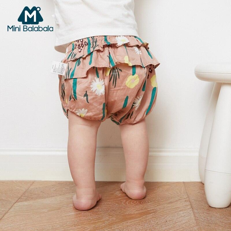 Mini Balabala Baby Girl 100% Cotton Ruffled Puff Pants Printed Infant Newborn Baby Boys Shorts Short Pants Elastic for Summer