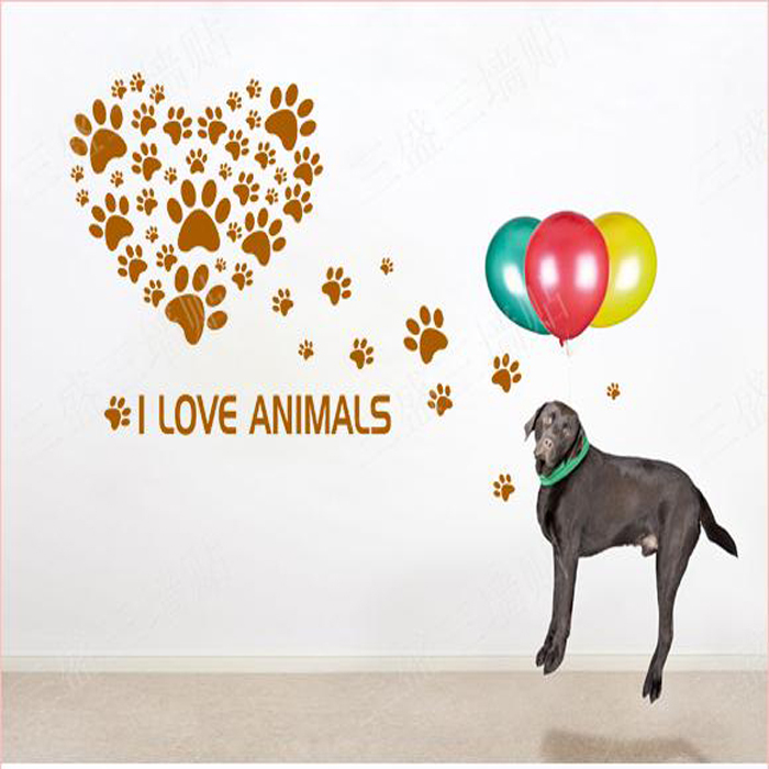 dog paw print heart wall sticker animal wall stickers for