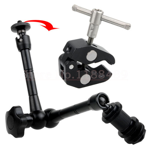 100% New 11 Adjustable Articulating Magic Arm Super Clamp Mount Kit For Camera DSLR RIG Z96 LED Light friction