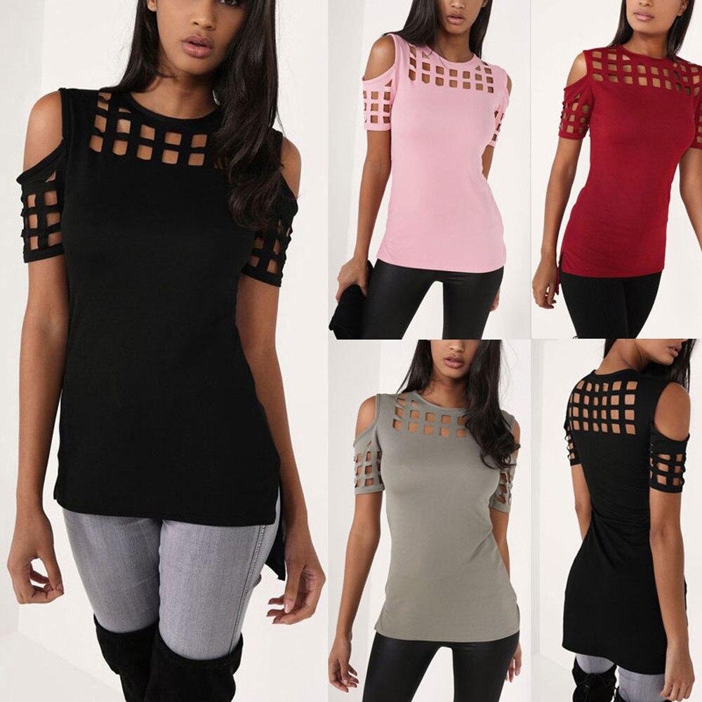 HTB1DeEYOFXXXXbeXFXXq6xXFXXXr - T-shirts Women Fashion Off The Shoulder Hollow Out Short Sleeve