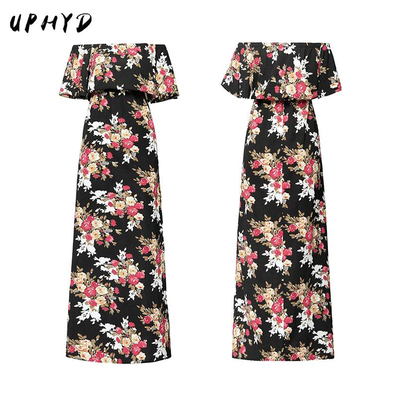 S-XXL Spring New Floral Printing Sexy Big Swing Dresses Word Shoulder Long Party Dress RP1311