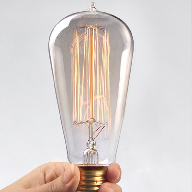 Retro lamp ST58 Vintage Edison bulb E27 Incandescent bulb 110V 220V 40W 60W Edison Light for Coffee bar Restaurant Bedroom