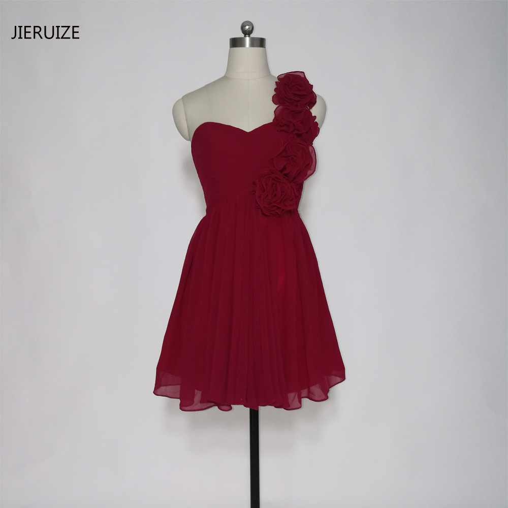 JIERUIZE Burgundy Chiffon One Shoulder Short Prom Dresses Flowers