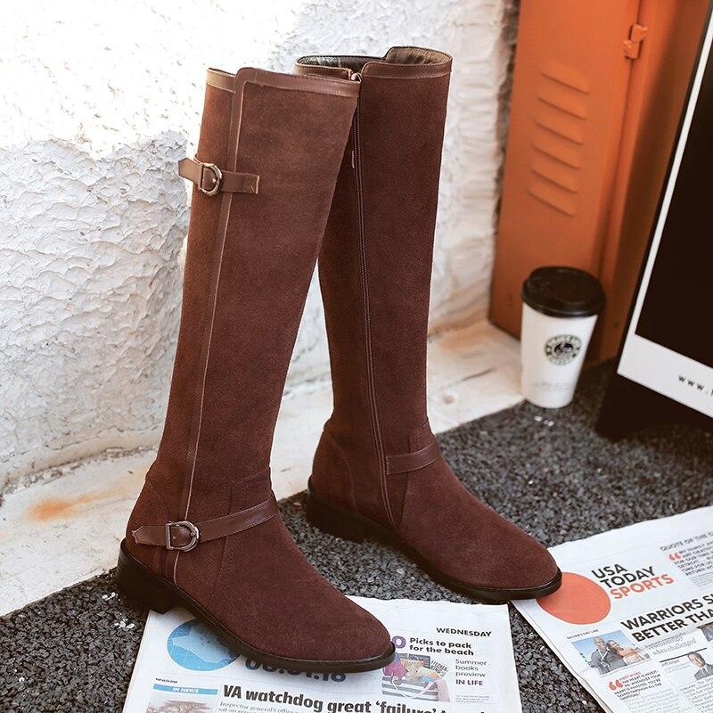 brown Limita Metal Rodilla Hebilla Gamuza Zapatos Marca