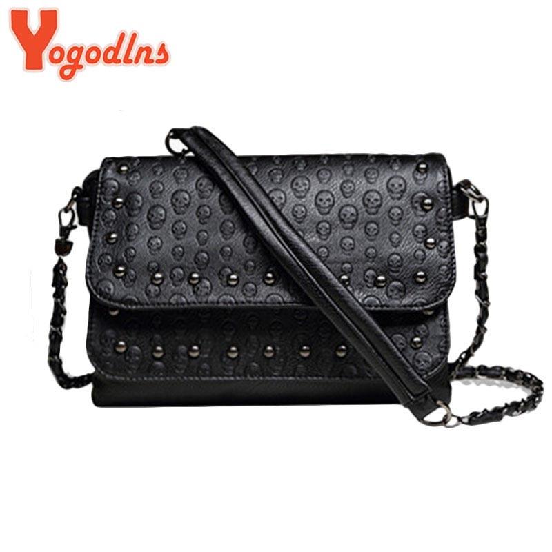 New 2017 rivet Women Messenger bags Brand Clutch Skull Crossbody Bag Small Shoulder bag sac a main soft Women Leather Handbags