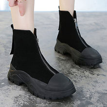 Women's Winter Boots Genuine Leather Zip Round Head Platform Boots Female Ankle Boots Black Korean Thick Bottom Platform Shoes(China)