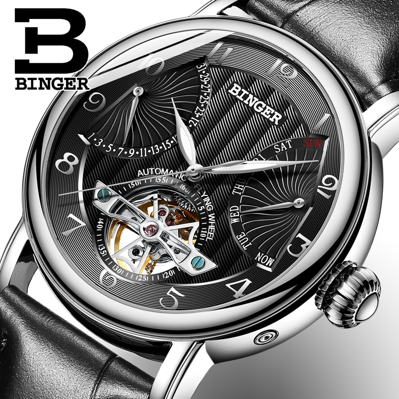 Mens Watches Automatic Mechanical Watch Tourbillon Clock Leather Casual Business Wristwatch relojes hombre Top brand BINGER 2017 binssaw 2016 men s watch automatic mechanical watch tourbillon clock leather casual business wristwatch relojes hombre top brand