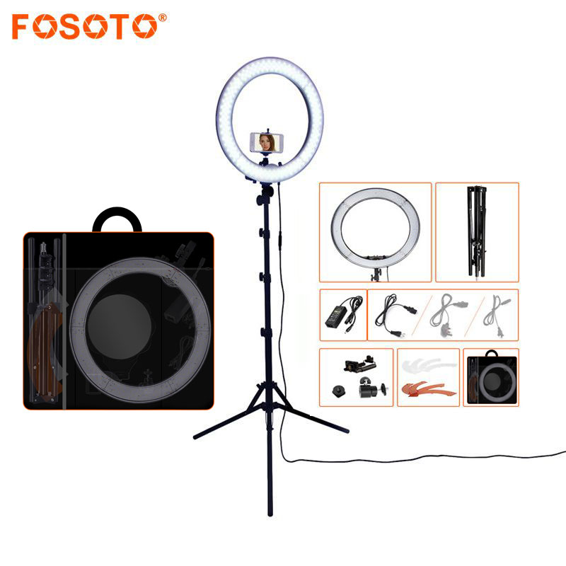 FOSOTO RL-18 240LED 5500K Dimmer fotografering / Foto / Studio / Telefon / Video Ring Lampe & Stativ Stativ For Canon Nikon Dslr Kamera