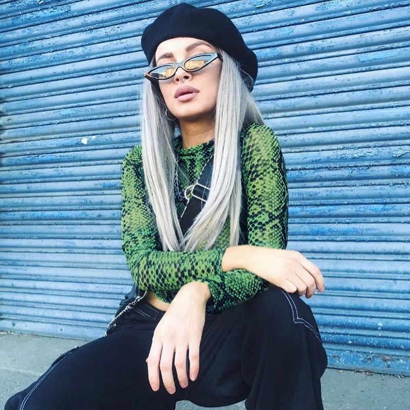 Casual verde estampado de serpiente T camisa Top de malla de manga larga transparente de piel de serpiente Mujer camiseta de alta Top cortos sin cuello GRNSHTS