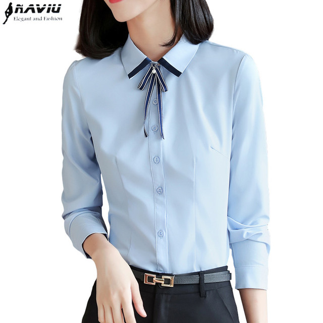 25e5f32777f934 Professional shirt women long sleeve 2018 autumn new interview formal bow  tie blouse office ladies temperament work clothes