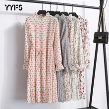 YYFS 2019 Cotton Dresses Women New Spring Summer Loose Chiffon Dress Casual High Waist Ruffles Flare Sleeve Female