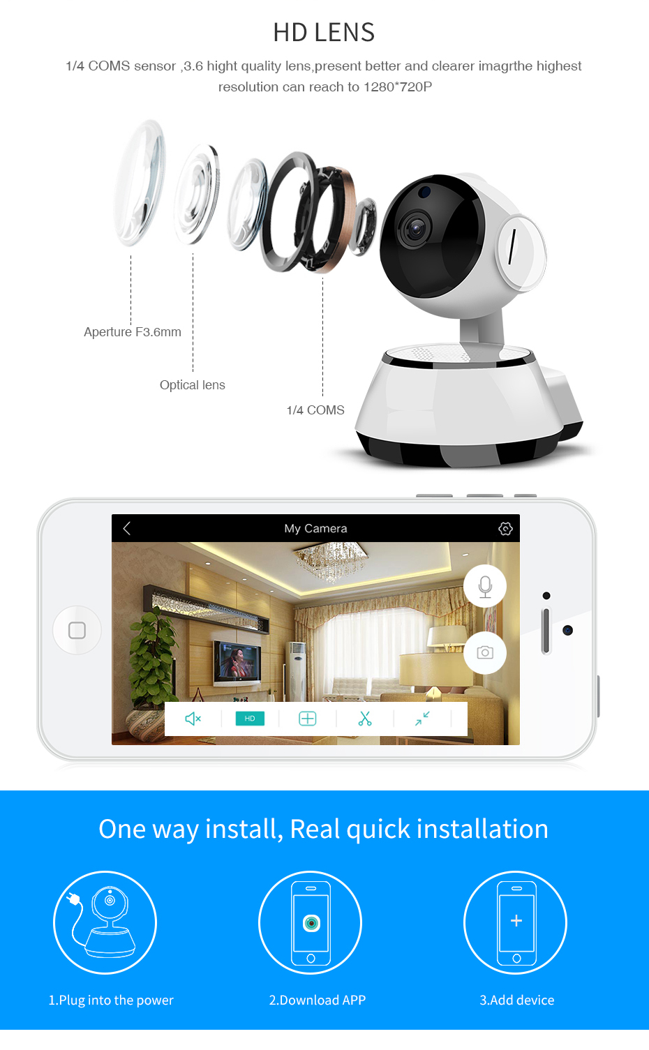 LOOSAFE IP Camara for Home Indoor wi-if mini Camera Full HD Wireless  Security Camera CCTV IP Cam Network P2P IRCut Night Vision