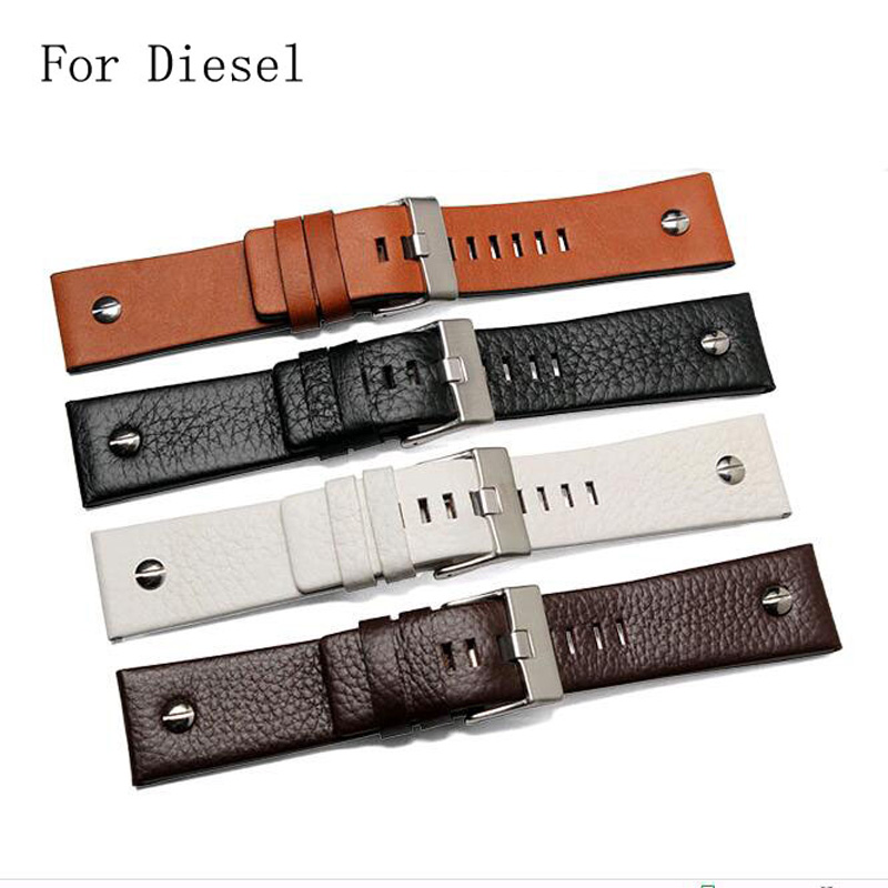 High Quality Genuine leather 22mm 24mm 26mm 28mm 30mm Black Brown White Watchband Watch Strap For DieselDZ7312 DZ7314 With Logo high quality genuine calf hide leather for diesel watch strap band for dz7257 dz7345 27mm 28mm 30mm 32mm 34mm man watchband tool