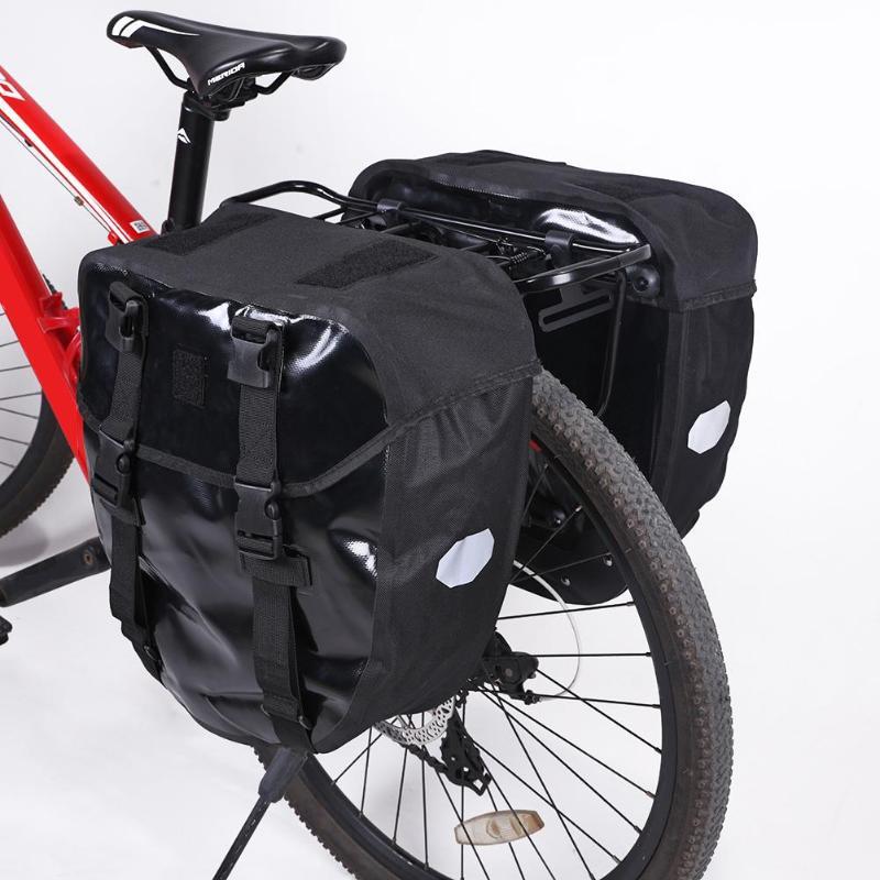40L MTB Mountain Bicycle Rear Rack Bag Waterproof Leather Bike Rear Rack Bag Outdoor Cycling Bicycle Tail Rear Basket Handbags цена