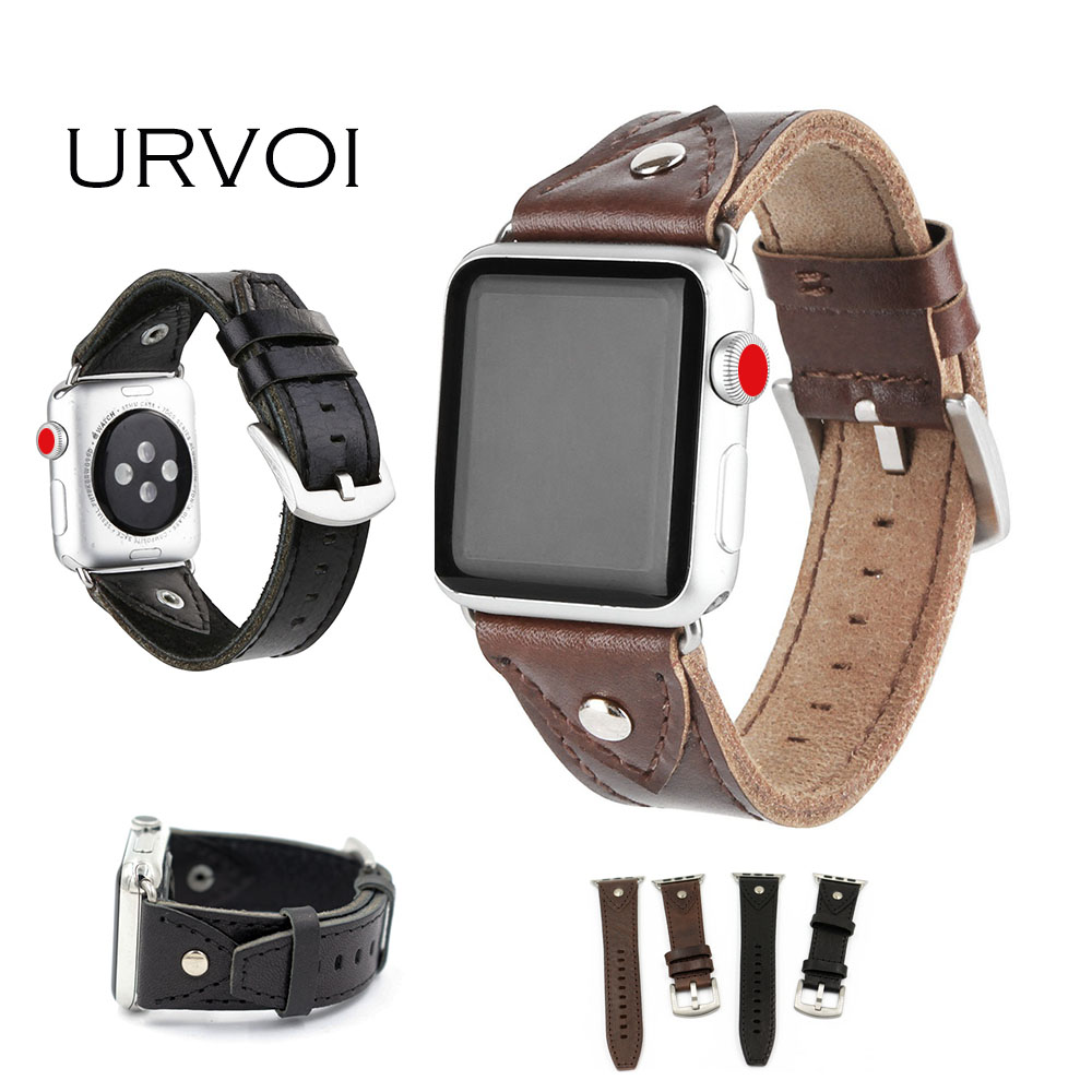 URVOI band for apple watch series 3 2 1 leather strap for iwatch belt high quality Soft confortable genuine calf leather 38 42mm high quality black color leather 38 42mm width apple watch strap band for apple watches