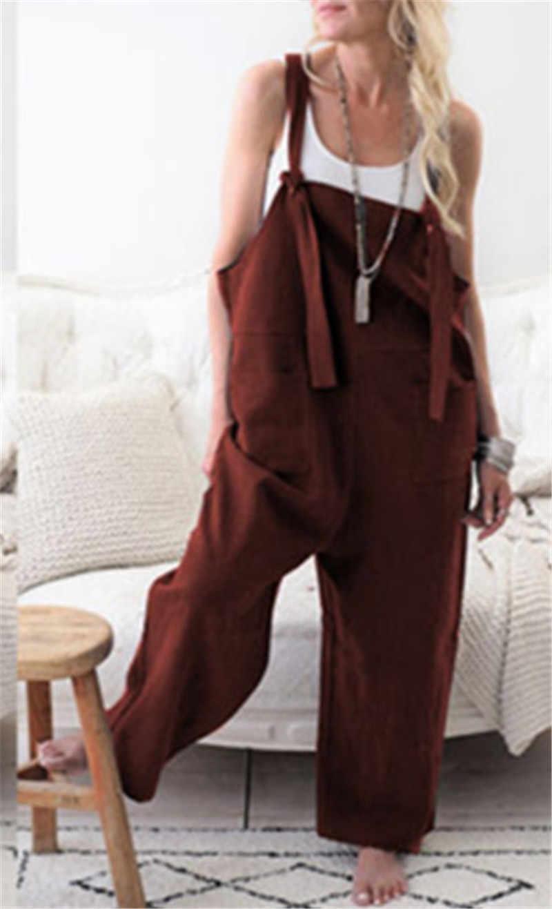 Mulheres sem mangas bolsos dungaree baggy macacões moda strappy solto longo harem calças bib plus size xl w3