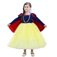 Girls Snow White Princess Dress Kids Summer Costume with Sleeve Cape Children Halloween Birthday Party Cosplay Dress