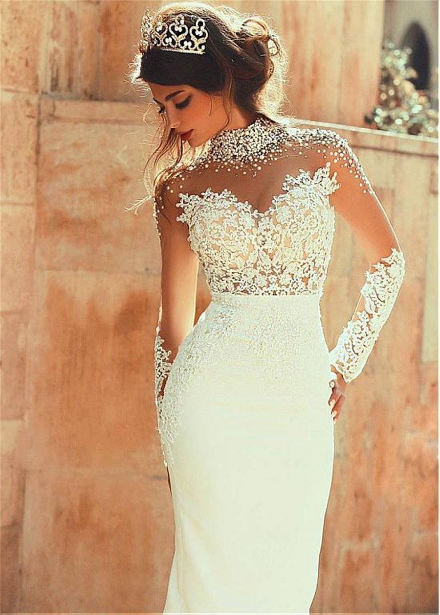 2019 Exquisite Sheer Back Sheath High-neck With Pearls Long Sleeves See Through Floor Length Wedding Dresses Sexy Backless