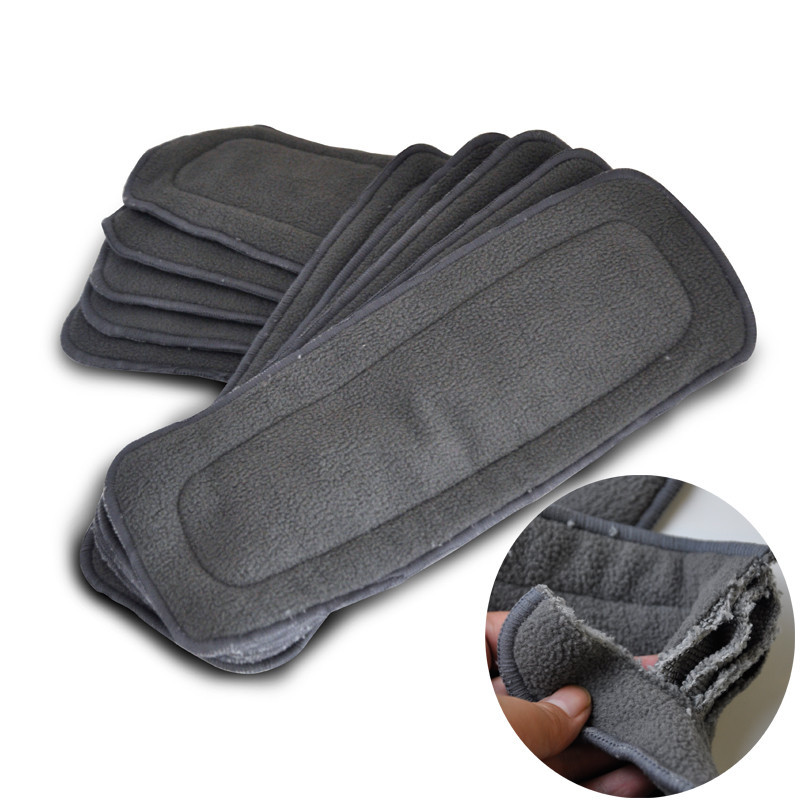 Charcoal Bamboo Inserts Super Absorbent Keep Dry Cloth Diaper Insert Reusable Nappies (Pack of 2-Pieces)