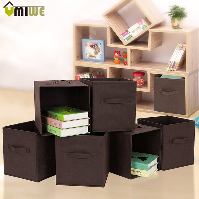 Home Office Foldable Book Underwear Bra Socks Ties Storage Box Cube Basket Bins Organizer Clothes Containers Drawers For Toys