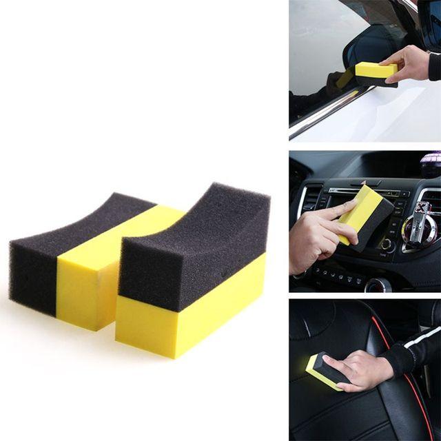 OOTDTY-tampons applicateurs de Contour de pneu   Cire éponge de polissage, brillante et couleur brillante, 6 pièces