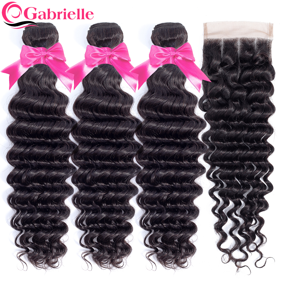 Gabrielle Human Hair Bundles with Closure Brazilian Deep Wave 3 Bundles with Lace Clsoure Natural Color