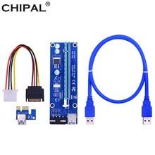 Chipal ver006 pci-e riser cartão pci express pcie 1x a 16x adaptador 60cm usb 3.0 cabo 4pin alimentação para mineração bitcoin mineiro