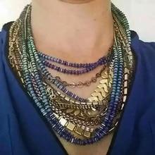 Ladyfirst 2016 Nueva Bohemia Multilayer Beads Bib Lujo Escalas Encanto Custom Collier Femme Boho Maxi Crystal Collar de Las Mujeres 3566