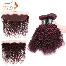 JSDShine 99j Burgundy Malaysian Kinky Curly Hair Weave Bundles With Frontal Human Hair Bundles With Closure Frontal Non Remy(China)