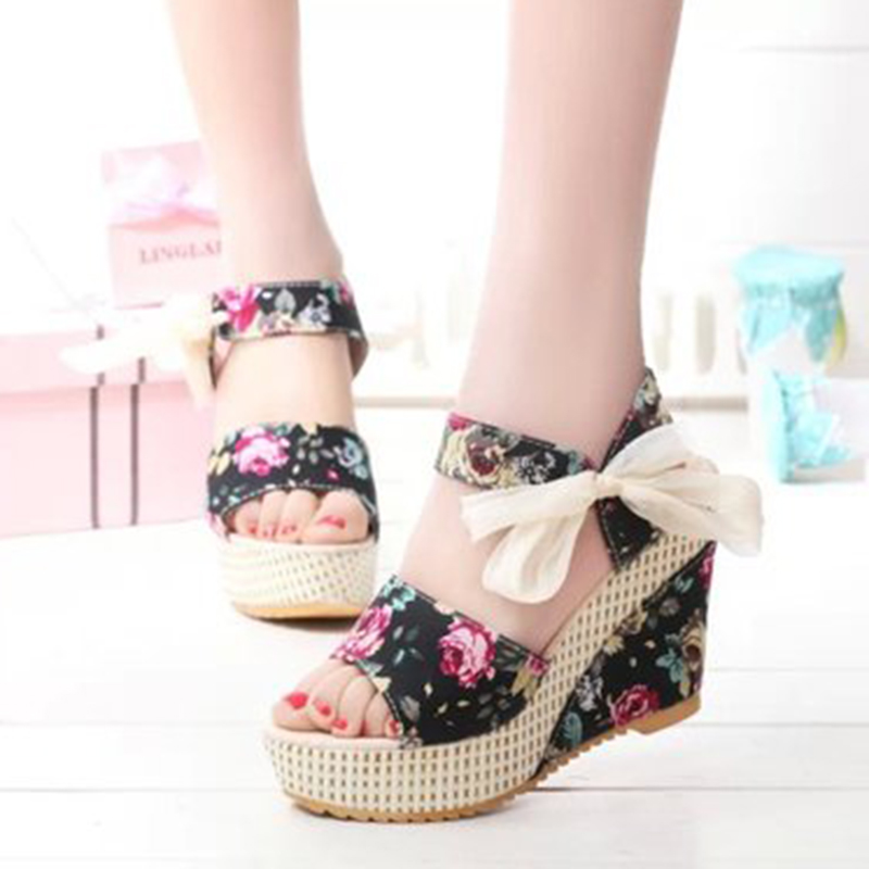 Women Shoes Platform Flip-Flops High-Heeled Open-Toe Summer Wedges Bow Lace Sandals Belt