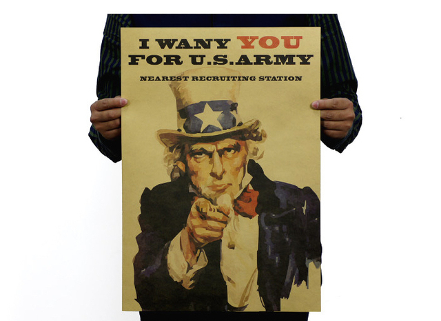 Stickers Diy Wall Sticker World War Ii Uncle Sam Recruitment Poster Nostalgia Old Kraft Bar