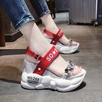 Crystal Gladiator Platform sandals women Super High Heels 10 cm Raise Up Bottom Red White Size 34