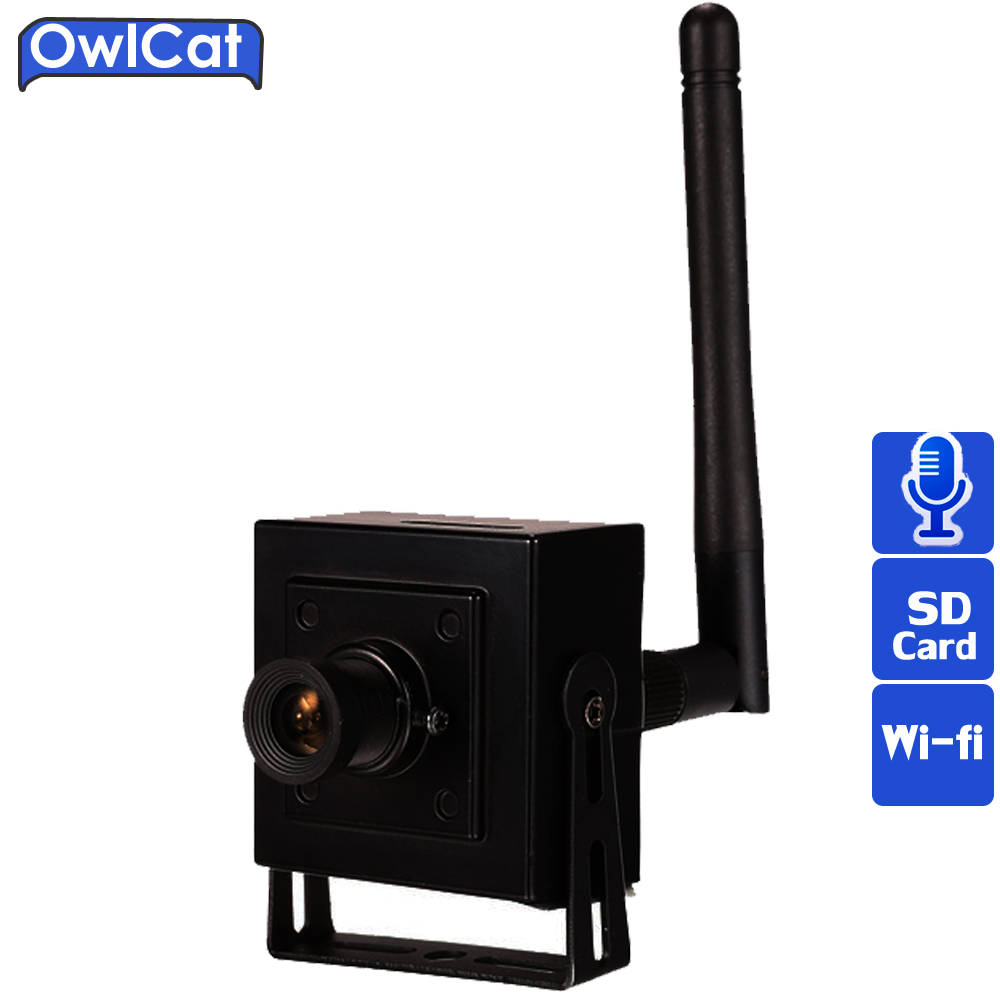 OWLCAT Small Mini Indoor Wireless IP Camera Wifi HD 960p Microphone Audio Talk SD Card Onvif P2P Support Android iPhone View fpv 1 2ghz 100mw 4ch wireless audio
