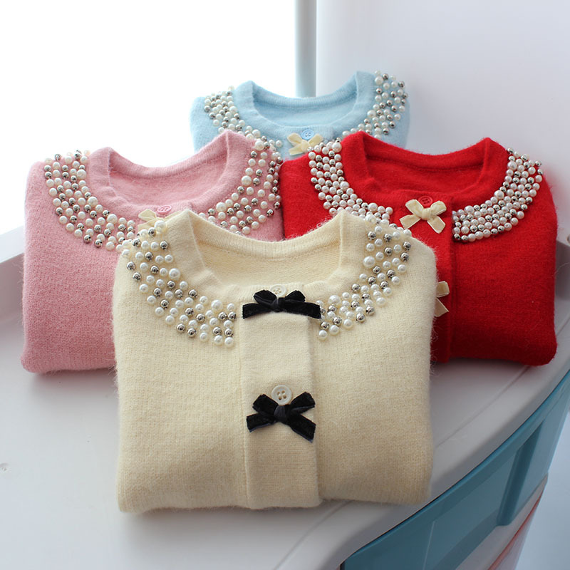 Image 5 - Christmas Jacket for Girls Sweater Autumn Winter Cardigan Woolen  Children Sweater Knitted Bow Pearl Girls Clothes Outerwear-in Sweaters from Mother & Kids