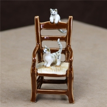 Unique Porcelain Kitty Couple Miniature Handmade Ceramics Chair Model Pet Cat Figurine Ornament Gift Craft Decor Accessories