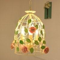 Творческий кованого железа клетка для птиц подвесные светильники корейский пасторальный цветы свет Nordic ресторан лампа детская комната спа