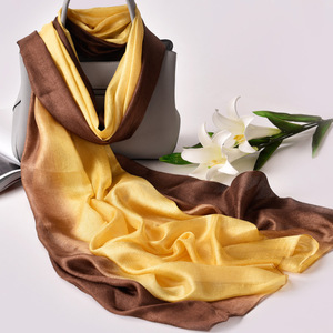 Image 4 - 2020 Luxury Brand Real Silk Women Scarf fashion Soft silk kerchief Female Shawl Foulard Beach cover ups wraps Silk Bandana Hijab