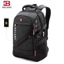 BaLang Laptop Backpack Men USB Charging Waterproof Travel Backpack Black Women Rucksack Male Vintage School Bag Mochila 2019