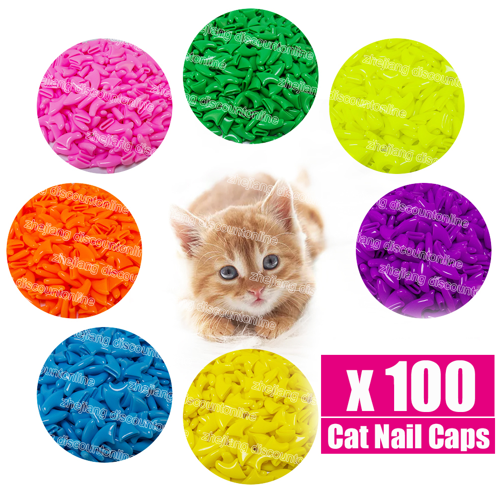 100 Pcs/lot Pet Cat Nail Caps Claw Soft Paw Caps Pet Nail Protector Xs,s,m,l For Free Glue