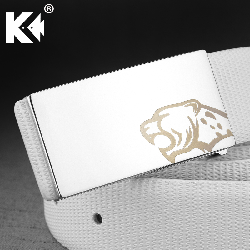New Leopard personality leisure Smooth buckle designer men belts genuine leather luxury male Waist Strap cowskin ceinture homme