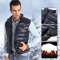 Пеший Туризм Жилет Отопление полимера UBS Батарея Термальность ветрозащитный рукавов пуховой жилет Для мужчин зимой на открытом воздухе кем