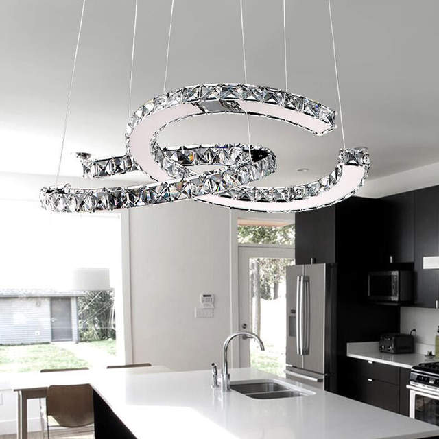 Us 136 08 28 Off Double C Circle Led Pendant Light Crystal Ceiling Hanging Lamp Suspension Modern Simple Lighting Fixture In