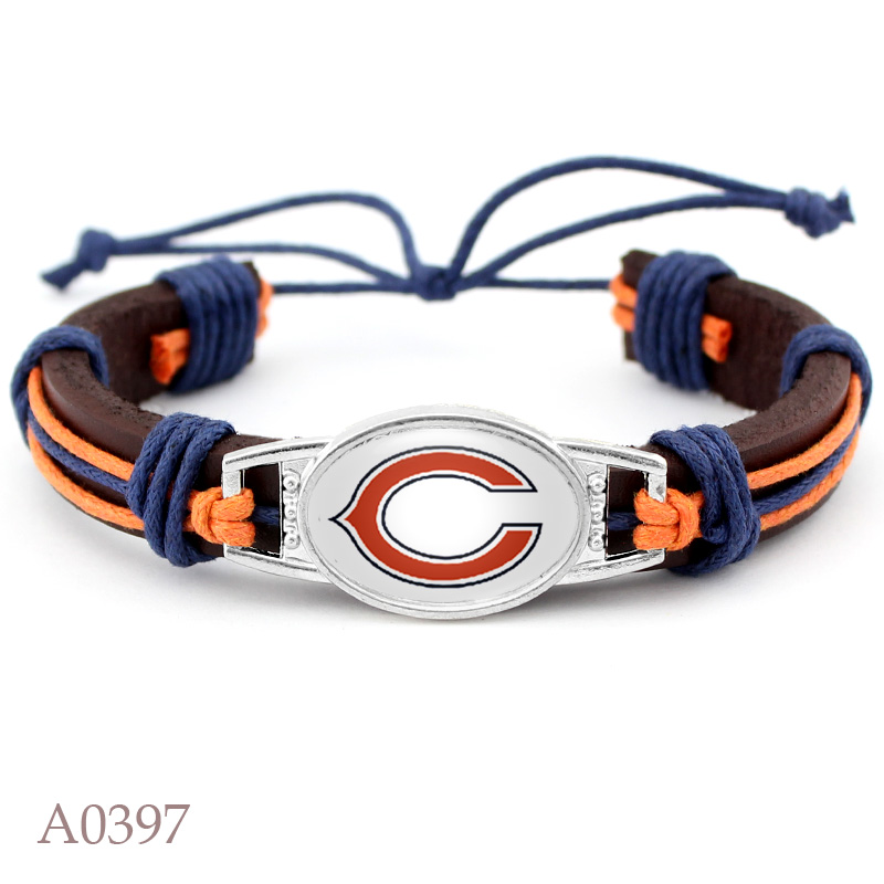 Chicago Bears Football Team Real Leather Bracelet Adjustable Mens Real Leather Bracelet For Fans Gifts 10 PCS